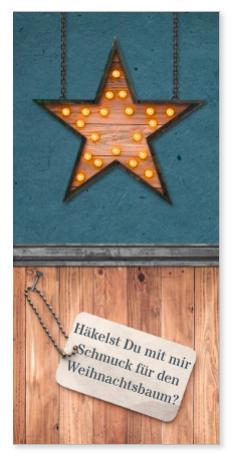 Weihnachtsbaumschmuck häkeln mit einer Einladung im Holzdesign dazu. Holzstern mit Lampen und ein Label, auf das man dann  den passenden Text schreiben kann.